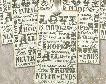 Love Is Patient Love Is Kind 1 Corinthians 13:4 Bible Verse Wedding Favor Shower Wish Gift or Scrapbook Tags #136