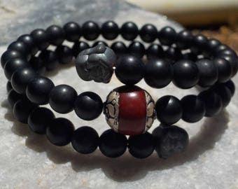 Matte Onyx Mala Bracelet- prayer beads- rosary - 54 beads