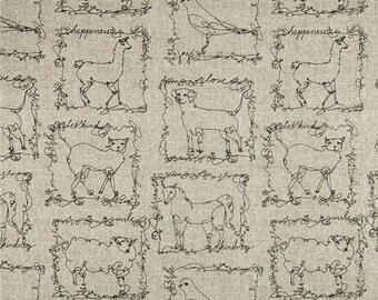 "Animal Drapes, Designer Script Curtains, Whimsical Decor, Free-Hand Illustration Print, Natural, Neutral Decor, Rod-Pocket, One Pair 50""W"