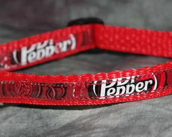 Adjustable Cat or Toy Dog Collar from Recycled Dr Pepper Soda Bottle Wrappers