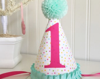 Pink and Aqua/ Mint pastel Polka dot Ruffled fabric party hat 1st birthday hat cake smash photo prop