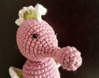 Amigurumi Seahorse, knitted toddlers toy, crochet figurine, sea miniature, nautical toy, seahorse baby shower, creature, handmade, pink