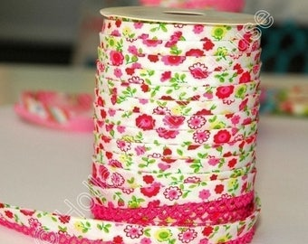 FINAL CLEARANCE SALE Bias Tape Pink Floral Cotton and Lace Double Fold