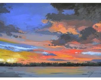 Sunset over Kaganagiami lake