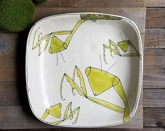 Ceramic insect square dish, hand drawn praying mantis bowl, whimsical insect serving dish.
