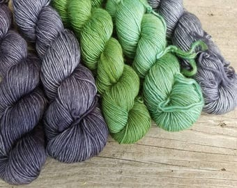 Green Swallowtail Butterfly Gradient  - Set of 5 - 750 yards total - 100% Superwash Single Ply Merino