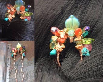 Gemstone Multicolor Hair Fork, Hammered Copper, Hair Accessories, Hair Decor, Hair Stick, Free USA Shipping
