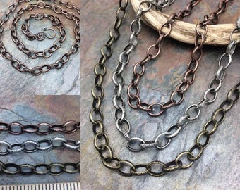 Celtic Etched Chain Necklace or Bracelet Adjustable Length, Your Choice Antique Silver, Brass, or Copper Finish, Free USA Shipping