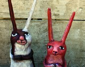 Bunnies paper mache, paper clay figurines