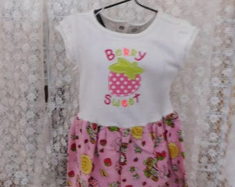 Strawberry Shortcake Girl Onesie Dress Bib  Baby Shower Birthday Gift Baby Outfit Events Party Picnic Reunion OOOK Sz 6 Mo