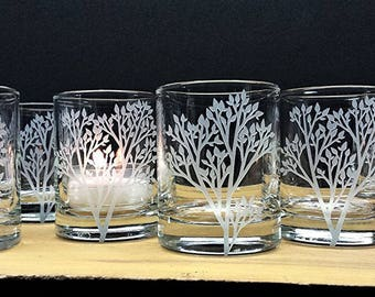 Set of 24 Woodland Candle Holders Glass Candle Holders Engraved Trees With Leaves