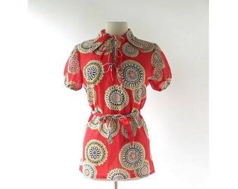 20% off sale Vintage 60s Blouse | Sunburst Mandala | Tunic Top | Medium M