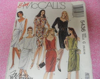 McCall's 5436  Misses Dress Pattern Sweetheart Neckline, Pegged Skirt, Sarong Look Sizes 10,12,14 Uncut