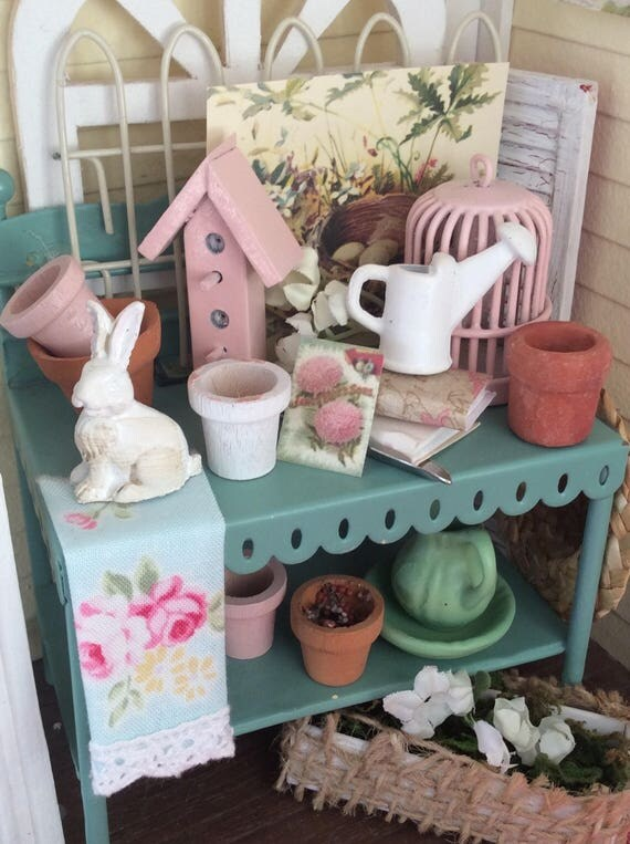 Miniature Spring Potting Table and Garden Accessories