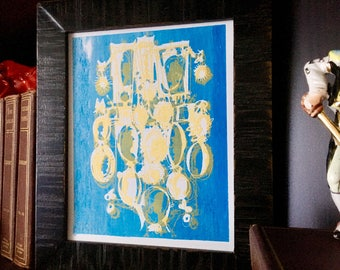 CAMEOS #053   handmade fine art silkscreen print in pale gold and shimmery blue (8x10)