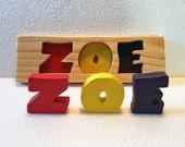 Personalized - Rainbow Name Puzzle - Raised, Stand alone Letters - Handmade Wooden Montessori Puzzle Toy, Toddler Name Puzzle, Made in USA