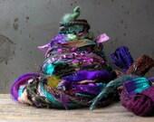 twilight forest fringe effects™  21yd art yarn bundle mixed media fibers craft kit . painted ribbons spun merino wool sparkle art yarns pack