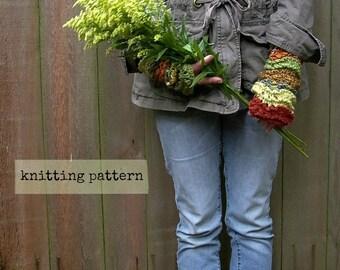 fingerless gloves knitting pattern . Ripple Effect pattern . PDF glove knitting pattern  . fingerless mittens gauntlets knitting pattern