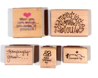 Lot of 5 Rubber Stamps, Wooden Base, Stamped By