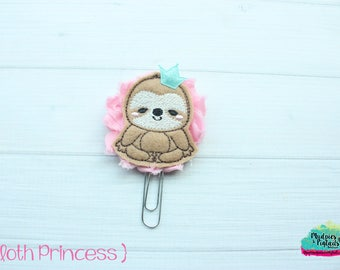 Planner Clip { Sloth Princess } pink mint, zoo, animal Paper Clips, Stationary, Planner Supplies, kikkik, happy planner