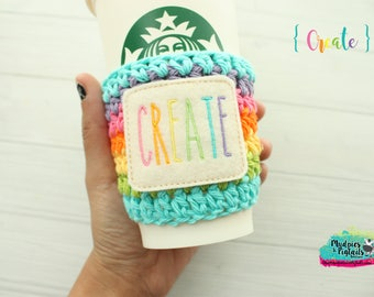 Rae Dunn Inspired { Create } Crochet Coffee Cup cozy, rainbow, maker bible journaling, faith, church, knit mug sleeve, bible study, gift