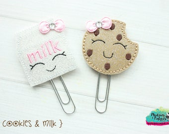 Planner Clip or Hair Clippie { Milk & cookies } breakfast, glitter coffee cup, Paper Clips, Stationary, irish toddler hair bow Birthday