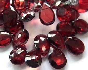 Garnet Gemstone. Semi Precious Gemstone Bead. Faceted Garnet Pear Briolette,  9mm. Your Choice. (53gn5)