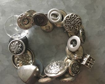 Silver Vintage Button Bracelet