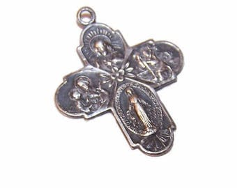 STERLING SILVER,Sterling Medal,Silver Medal,4-Way Medal,Religious Medal,Religious Charm,Jesus,Mary,St. Christopher,St. Joseph,Pendant