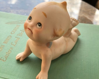 Vintage Mid Century Bisque Pouty Kewpie Doll Piano Baby Figurine