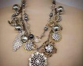 Two strand rhinestone necklace