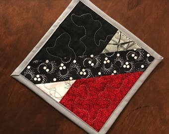 "One Red, Gray and Black mug rug, Quilted mug rug, Asian prints coaster, 7"" x 7"""