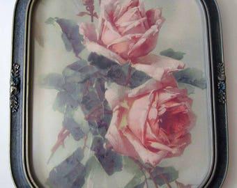 Catherine Klein, Roses, Print, Art Print, Half, Yard Long, Antique, Barbola, Frame, Convex Glass, Shabby Chic, C Klein, Rose
