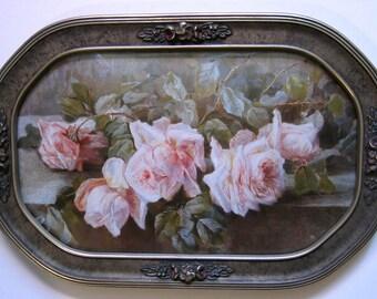 Roses, Print, Art Print, Half, Yard Long, Antique, Barbola, Frame, Convex Glass, Shabby Chic, Pink, Rose