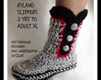 CROCHET SLIPPERS PATTERN, Ryland slippers, Unisex style, #2041, 2 yrs to adult xl,