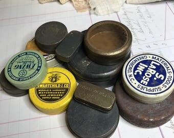 Instant Collection of Watch Tins (12) S. La Rose Inc. Ewing Brothers- Vintage Metal Boxes- Watch Parts- Steampunk Supply Small Tins- H30