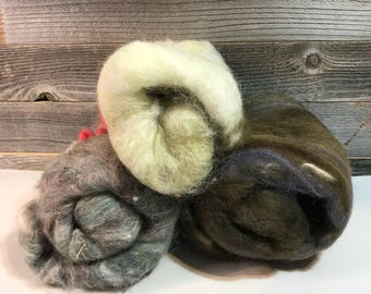 Hand Dyed WOOL ROVING- Combed Felting Wool- Neutral Gray Green Brown-  Muted Colors Weaving Supply-  Fiber Arts Supply- M22