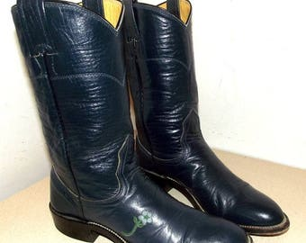 Dark Blue Leather Roper style cowboy boots Wildflower by Nocona in a cowgirl size 5.5 A