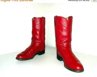 Red Leather cowboy boots-  Justin brand - size 5.5 B