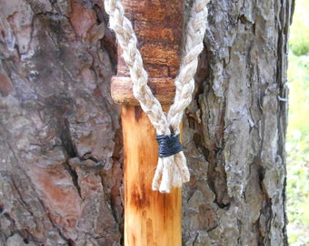 Walking Stick, Natural Wood hiking staff with braided hemp Lanyard and Bark Grip, Rustic wooden hiking stick, hand made