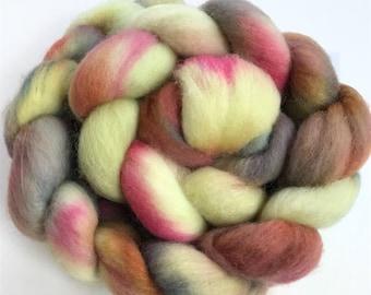 Organic merino, hand dyed, spinning fiber, top, roving, 'Interlaken', 4 oz.