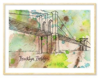 Brooklyn Bridge Print, Watercolor Print, NYC Art, New York City Souvenir, NYC Tourist, Brooklyn Lover, 8.5x11, Brooklyn Art, Illustration