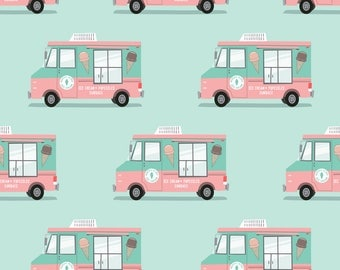 Ice Cream Trucks Fabric - Ice Cream Trucks By Littlearrowdesign - Summer Ice Cream Trucks Cotton Fabric By The Yard With Spoonflower