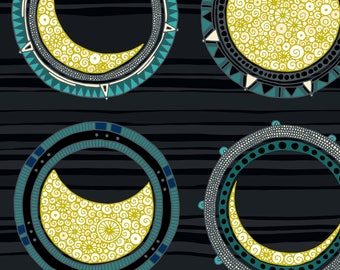Astronomy Fabric - Solar Eclipse Mandala By Scrummy - Astronomy Celestial Lunar Solar Eclipse Cotton Fabric By The Yard With Spoonflower