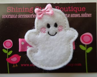 Hair Accessories - Felt Hair Clip - White And Light Pink Felt Halloween Happy Girl Ghost Holiday Embroidered Hair Clippie For Girls