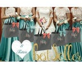 SET OF 8 bridesmaid tote bags ,bachelorette party gifts , bridal party tote bags ,Bridesmaid gifts
