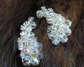 Aurora Borealis Crystal Bead Ear Climber Earrings Vintage Mid-Century