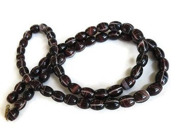 SALE Chocolate Brown Banded Agate Necklace Vintage Long Beads