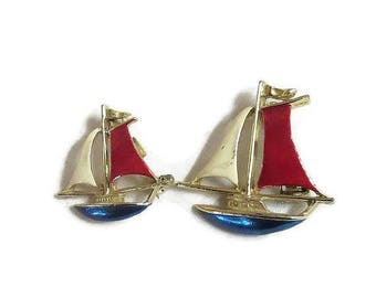SALE Pair of Enamel Sailboat Scatter Pins or Brooches signed Gerry's Vintage