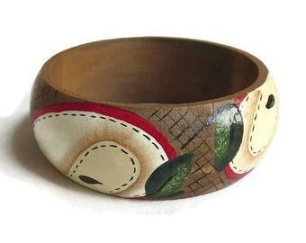 SALE Hand Painted Wood Bangle Bracelet Vintage Artist Signed